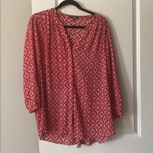 NYDJ geometric red blouse size XL